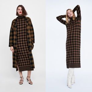 ZARA Plaid Knit Turtleneck Sweater Dress